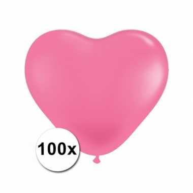 Zak met 100 roze hart ballonnen 15 cm