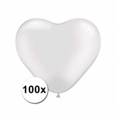 Zak met 100 witte hart ballonnen 15 cm