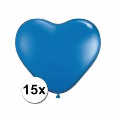 Zak met 15 blauwe hart ballonnen 15 cm