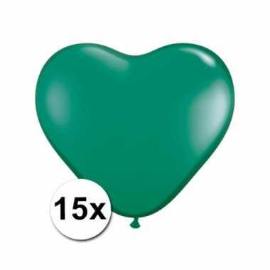 Zak met 15 groene hart ballonnen 15 cm