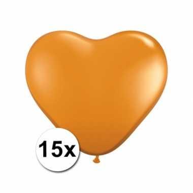 Zak met 15 oranje hart ballonnen 15 cm