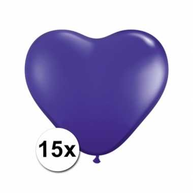 Zak met 15 paarse hart ballonnen 15 cm