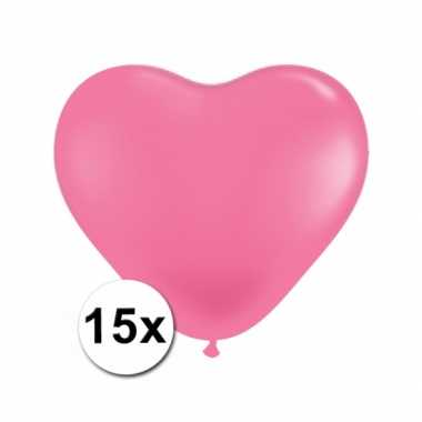 Zak met 15 roze hart ballonnen 15 cm