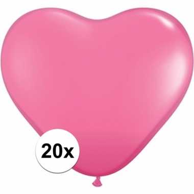 Zak met 20 roze hart ballonnen 15 cm