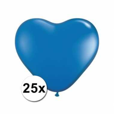 Zak met 25 blauwe hart ballonnen 15 cm