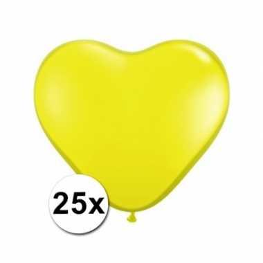Zak met 25 gele hart ballonnen 15 cm