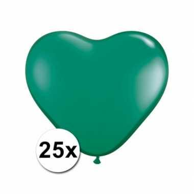 Zak met 25 groene hart ballonnen 15 cm