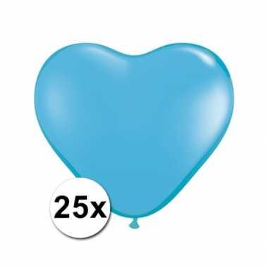 Zak met 25 lichtblauwe hart ballonnen 25 cm