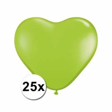 Zak met 25 lime hart ballonnen 15 cm