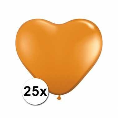 Zak met 25 oranje hart ballonnen 15 cm
