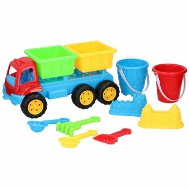 Zandbak speelgoed blauwe truck/kiepwagen dubbele container 35 cm