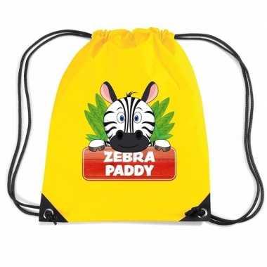 Zebra paddy rugtas / gymtas geel voor kinderen