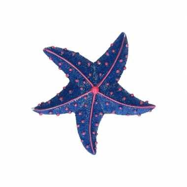 Zeedieren glitter magneetje donkerblauw 7.5 cm