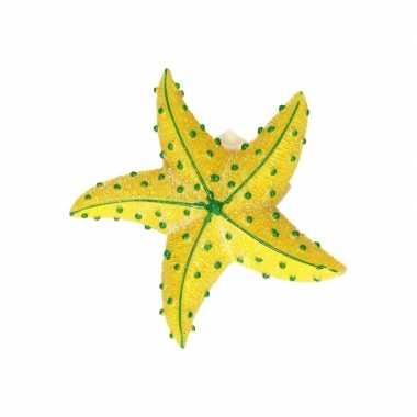 Zeedieren glitter magneetje geel 7.5 cm