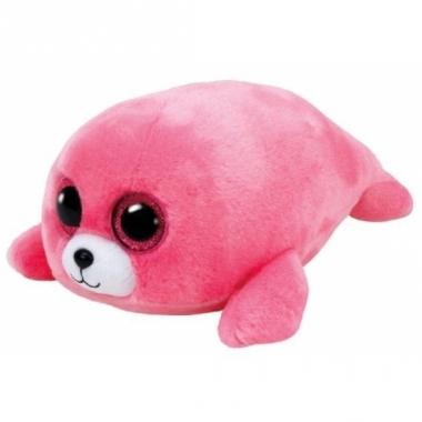 Zeehonden knuffel ty beanie roze 15 cm