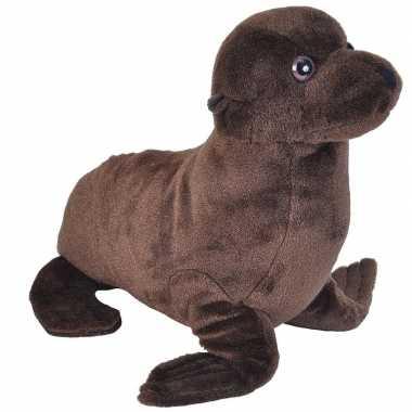 Zeeleeuwen speelgoed artikelen zeeleeuw knuffelbeest bruin 35 cm