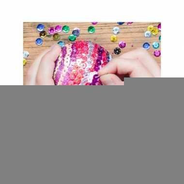 Zelf kerstballen maken met pailletten 12 cm