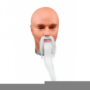 Zelfklevende witte snor en baard