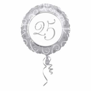 Zilver ballon helium met cijfers 25