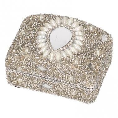 Zilver bewaardoosje oriental rechthoek 8 cm