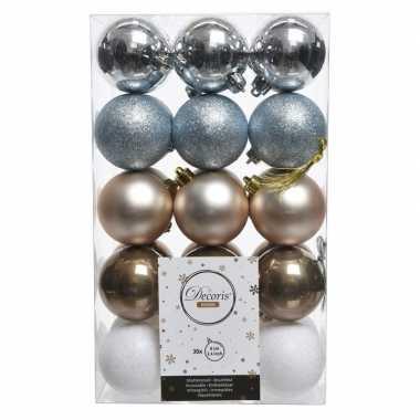 Zilver/bruin/witte kerstversiering kerstballenset kunststof 6 cm