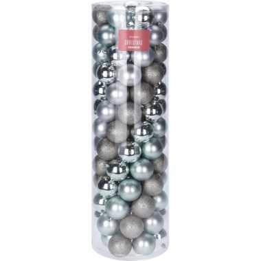 Zilver en mintgroene kerstversiering kerstballenset kunststof 6