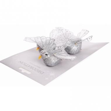 Zilver glitter vogeltje 10 cm