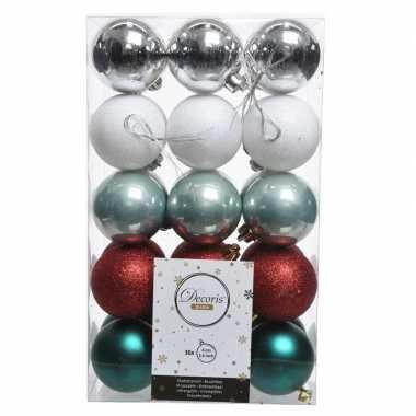 Zilver/groen/rode kerstversiering kerstballenset kunststof 6 cm