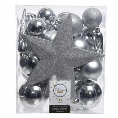Zilver kerstballen pakket met piek 33 stuks
