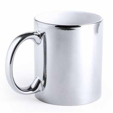 Zilveren beker/mok metallic 350 ml