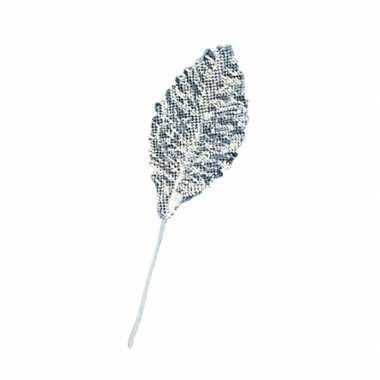 Zilveren brokaat bladeren 12x