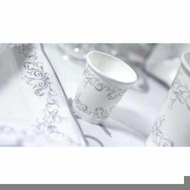 Zilveren bruiloft bekers 8 stuks