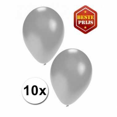 Zilveren decoratie ballonnen 10 stuks