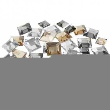 Zilveren diamanten stenen vierkant