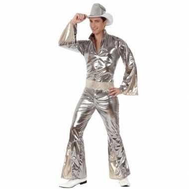 Zilveren disco carnavalskleding heren