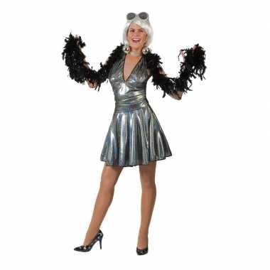 Zilveren disco seventies verkleed rok met top voor dames