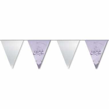 Zilveren eid mubarak thema vlaggenlijn/slinger 6 meter