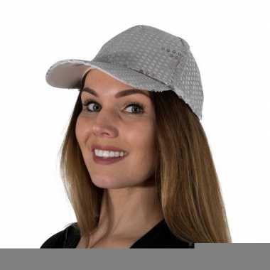 Zilveren glitter pailletten disco baseball cap
