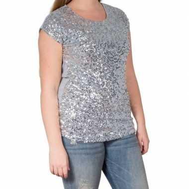 Zilveren glitter pailletten disco shirt dames l/xl