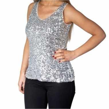 Zilveren glitter pailletten disco topje/ mouwloos shirt dames