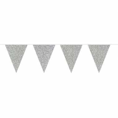 Zilveren glitter vlaggenlijn 10 meter