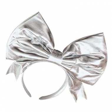 Zilveren haarband met mega strik