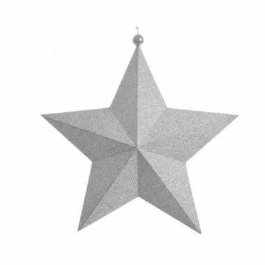 Zilveren hangdecoratie ster met glitters