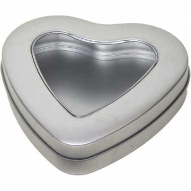 Zilveren hart opbergblik/bewaarblik 13 cm met venster