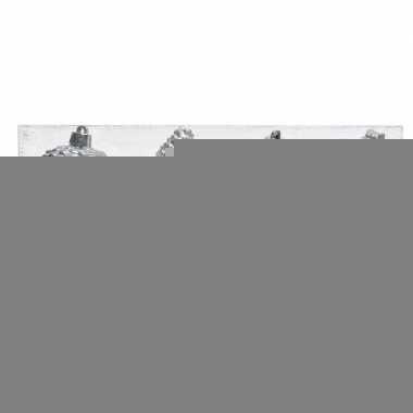 Zilveren kerstversiering dennenappels kunststof 12 cm