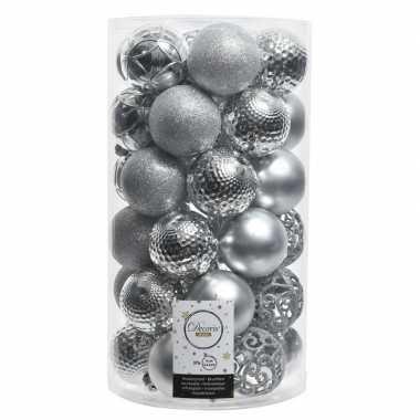 Zilveren kerstversiering kerstballenset kunststof 6 cm 36 stuks