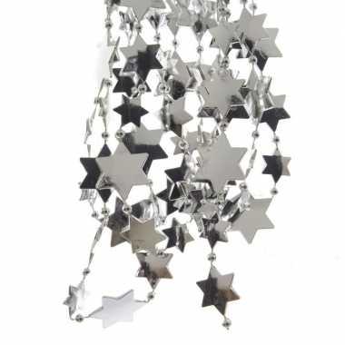 Zilveren kerstversiering ster kralenketting 270 cm