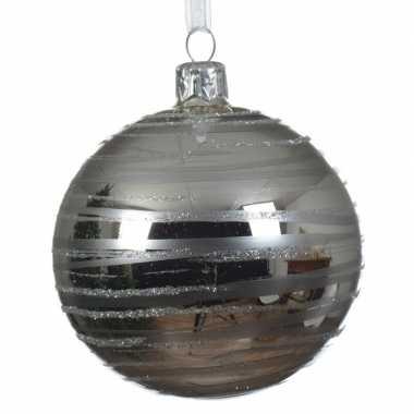Zilveren kerstversiering transparante kerstballen van glas 8 cm