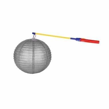 Zilveren lampion 25 cm met lampionstokje