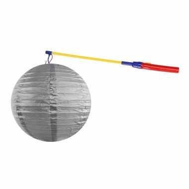 Zilveren lampion 35 cm met lampionstokje